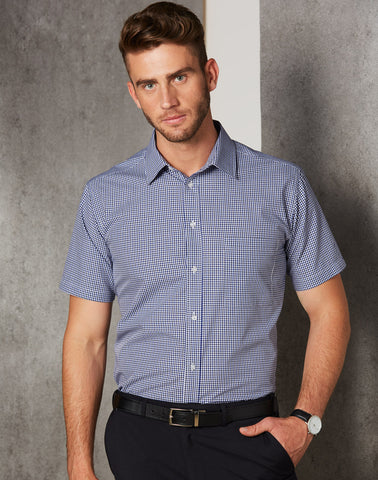 M7320S - Mens Two Tone Gingham Short Sleeve Shirt Benchmark