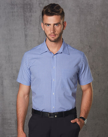 M7340S - Mens Two Tone Mini Gingham Short Sleeve Shirt Benchmark