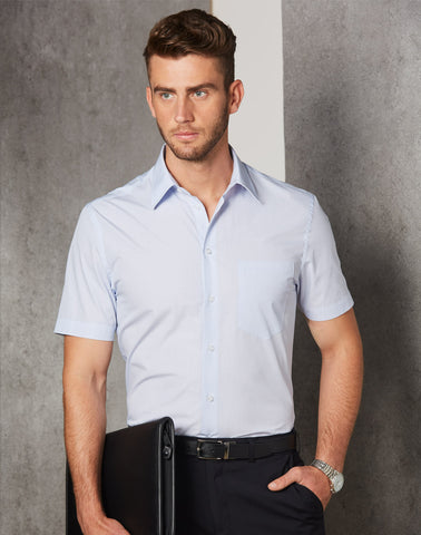 M7360S - Mens Mini Check Short Sleeve Shirt Benchmark