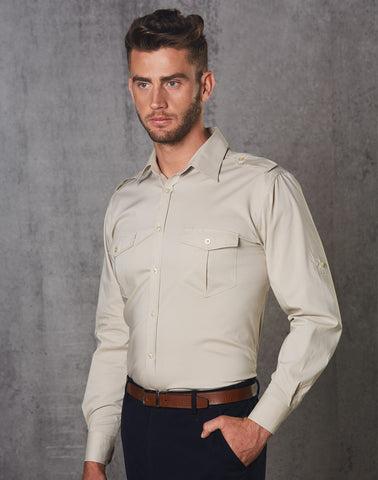 M7912 - Mens Long Sleeve Military Shirt Benchmark