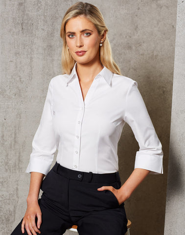 M8040Q - Ladies CVC Oxford 3/4 Sleeve Shirt Benchmark