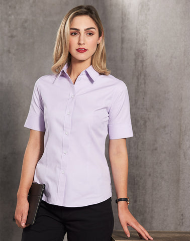 M8040S - Ladies CVC Oxford Short Sleeve Shirt Benchmark