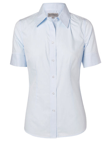 Ladies Self Stripe Short Sleeve Shirt M8100S