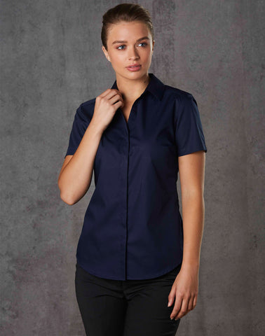 M8110S - Ladies Taped Seam Barkley Short Sleeve Shirt. Benchmark