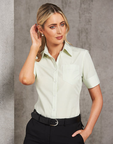 M8234 - Ladies Balance Stripe Short Sleeve Shirt Benchmark
