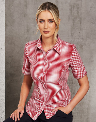 M8300S - Ladies Gingham Check Short Sleeve Shirt Benchmark