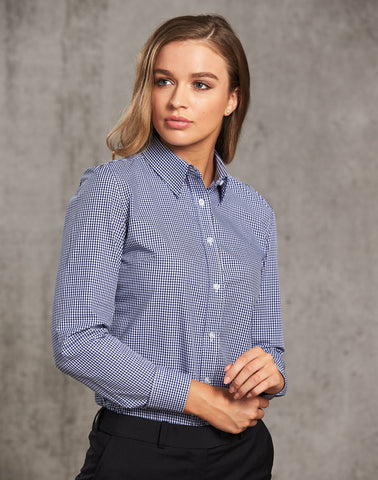 M8320L - Ladies Two Tone Gingham Long Sleeve Shirt Benchmark