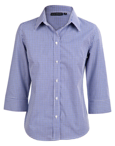 Ladies Two Tone Gingham 3/4 Sleeve Shirt M8320Q