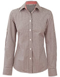 Ladies Gingham Check Long Sleeve Shirt M8330L