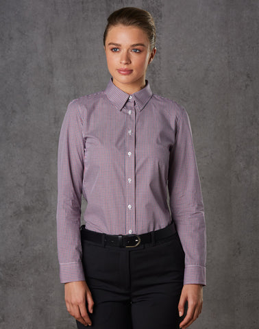 M8340L - Ladies Two Tone Mini Gingham Short Sleeve Shirt Benchmark