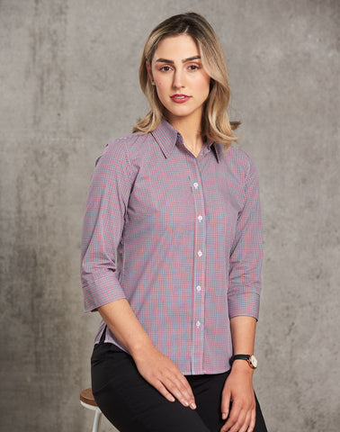M8340Q - Ladies Two Tone Mini Gingham 3/4 Sleeve Shirt Benchmark