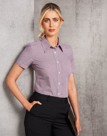 M8340S - Ladies Two Tone Mini Gingham Short Sleeve Shirt Benchmark