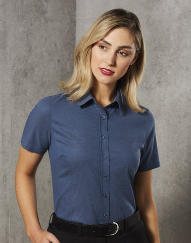 M8400S - Ladies Jacquard Stretch Short Sleeve Ascot Shirt. Benchmark