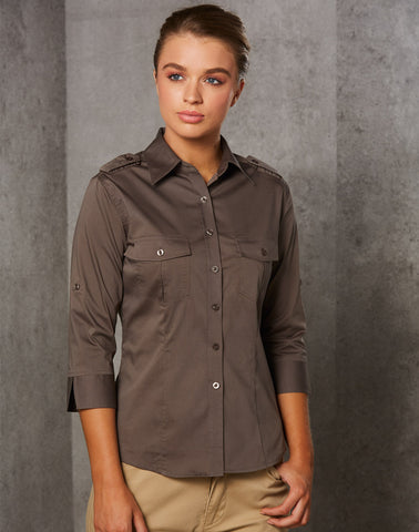 M8913 - Ladies 3/4 Sleeve Military Shirt Benchmark