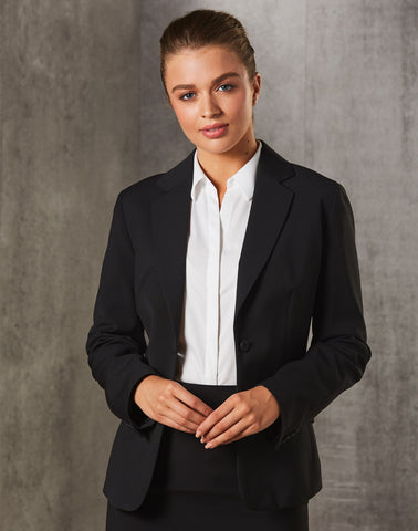 M9208 - Ladies Poly/Viscose Stretch Stripe One Button Cropped Jacket Benchmark