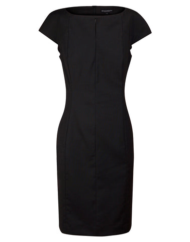 Ladies Wool Blend Stretch Cap Sleeve Dress M9281