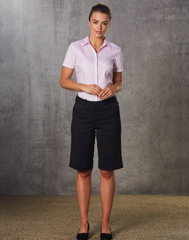 M9441 - Ladies Poly/Viscose Stretch Knee Length Flexi Waist Shorts Benchmark