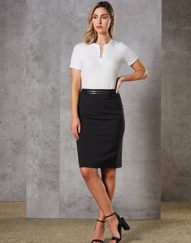 M9470 - Ladies Wool Stretch Mid Length Lined Pencil Skirt Benchmark