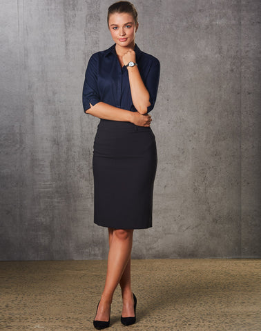 M9471 - Ladies Poly/Viscose Stretch Mid Length Lined Pencil Skirt Benchmark