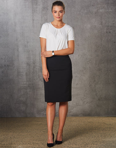 M9472 - Ladies Poly/Viscose Stretch Stripe Mid Length Lined Pencil Skirt Benchmark