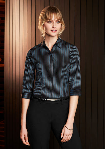 S415LT - Ladies Reno Stripe 3/4 Sleeve Shirt Biz Collection