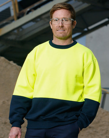 SW09 - High Visibility Two Tone Crew Neck Safety Windcheater AIW