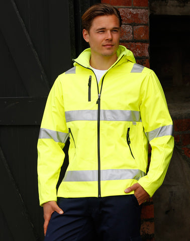 SW30 - Adults' HiVis Heavy Duty Softshell Jacket with 3M Tapes AIW
