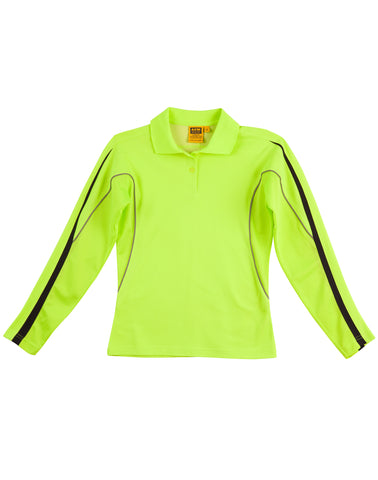 Ladies TrueDry® Hi-Vis Long Sleeve Polo with Reflective Piping SW34A