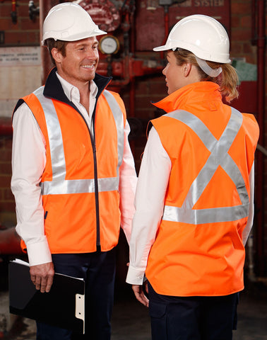 SW37 - Hi-Vis Reversible Safety Vest With X Pattern 3M Reflective Tapes Shell 100% Polyester Oxford 300 D with PU coating Lining: 290gsm Polar Fleece.Conforms to AS/NZ 4602.1:2011 Class D/N AIW