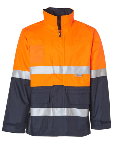 Hi-Vis Long Line Safety Jacket With Polar Fleece Lining and 3M Reflective Tapes SW50