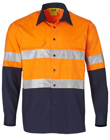 Mens High Visibility Cotton Rip-Stop Safety Shirts with 3M Tape SW69