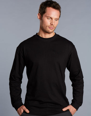 TS02 - Mens 100% Cotton Crew Neck Long Sleeve Tee Winning Spirit