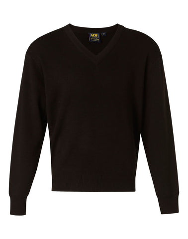 V-Neck Wool/Acrylic Knit Long Sleeves Jumper WJ01