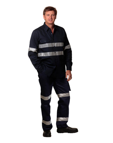 WP07HV - Mens Heavy Cotton Pre-shrunk Drill Pants - 3M Tapes Regular Size AWS