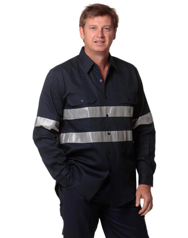 WT04HV - Cotton Drill Long Sleeve Work Shirt with 3M Tapes AWS