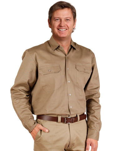WT04 - Cotton Drill Long Sleeve Work Shirt AWS