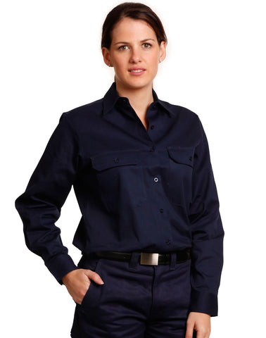 WT08 - Ladies High Visibility Cotton Twill Safety Shirts AWS