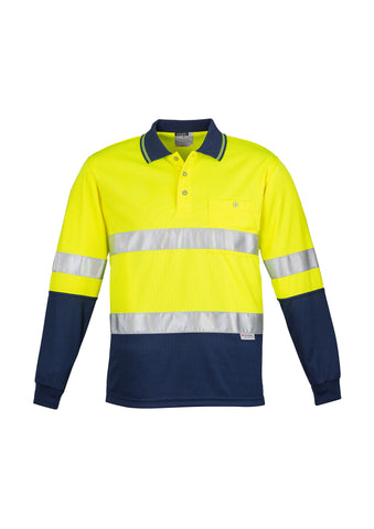 ZH235 - Mens Hi Vis Spliced Polo - Long Sleeve Hoop Taped Syzmik