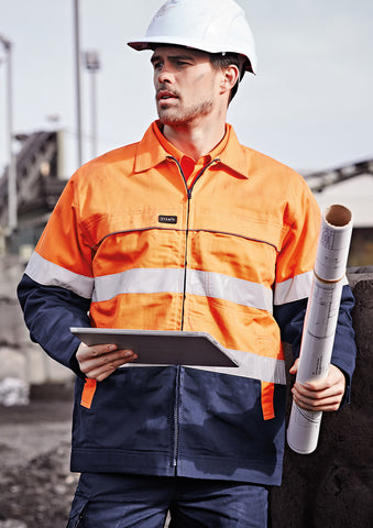 ZJ590 - Mens Hi Vis Cotton Drill Jacket Syzmik