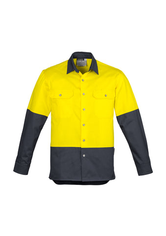 ZW122 - Mens Hi Vis Spliced Industrial Shirt Syzmik