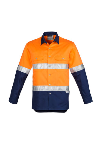 ZW123 - Mens Hi Vis Spliced Industrial Shirt - Hoop Taped Syzmik