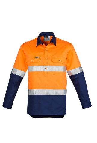 ZW550 - Mens Hi Vis Closed Front L/S Shirt - Hoop Taped Syzmik