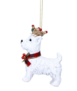 Decoración para el árbol de West Highland terrier con corona