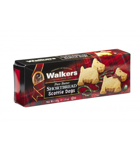 Galletas de mantequilla Walkers con forma de terrier escocés.