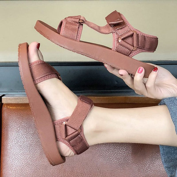 Flat With Strappy Open Toe Velcro Casual Low-Cut Upper Sandals