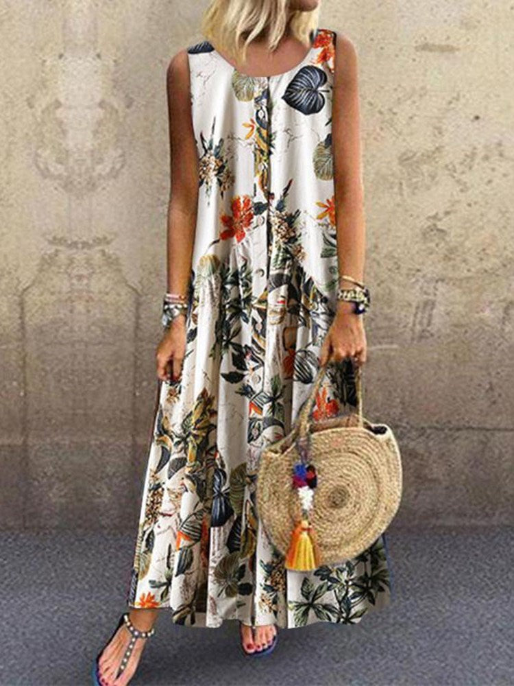 Ankle-Length Pleated Sleeveless Single-Breasted Bohemian Dress