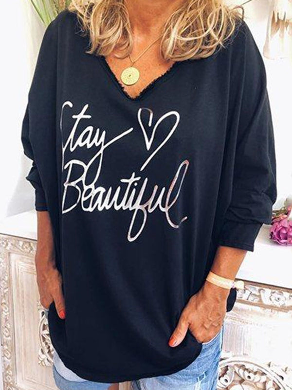 V-Neck Letter Long Sleeve Loose T-Shirt