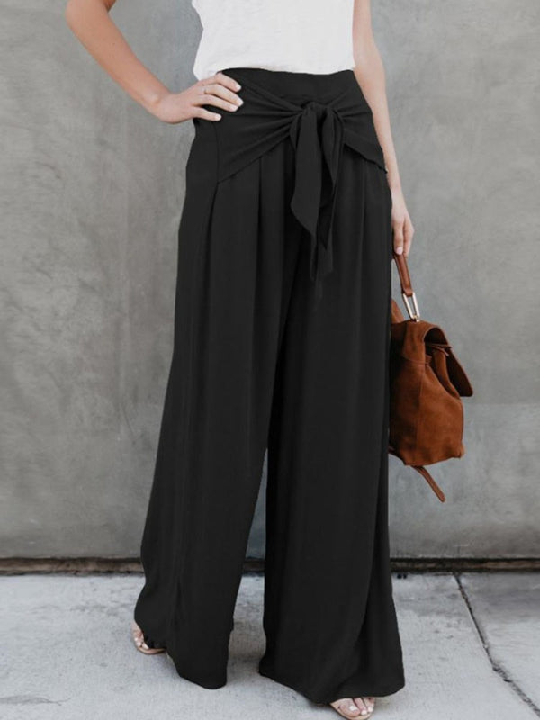 Loose Lace-Up Plain Wide Legs Full Length Casual Pants