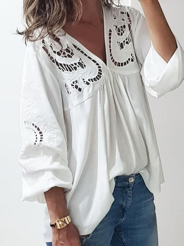 Plain V-Neck Hollow Mid-Length Three-Quarter Sleeve Blouse