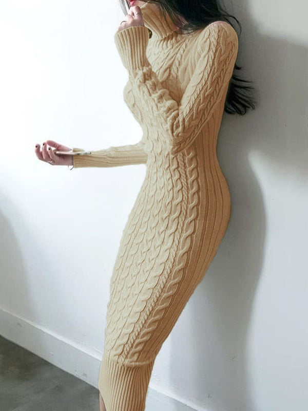Mid-Calf Long Sleeve Turtleneck Pencil Casual Dress